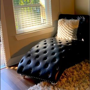 Black chaise lounge